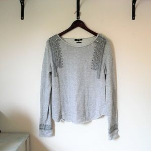 Miss Me Embellished and Embroidered Gray Top